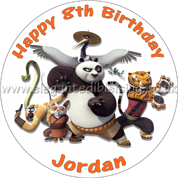 KUNG FU PANDA 3 PERSONALISED EDIBLE ROUND BIRTHDAY CAKE TOPPER